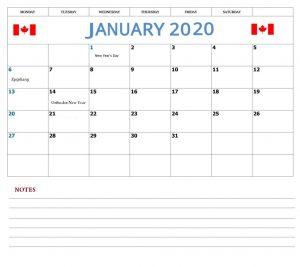 January 2020 Calendar With Canada Holidays