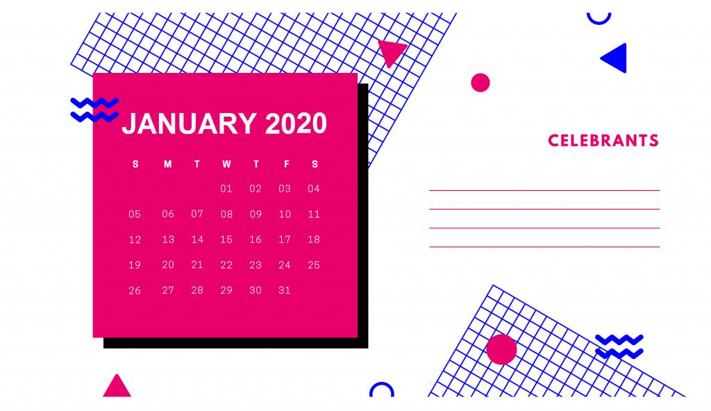 January 2020 Desk Calendar