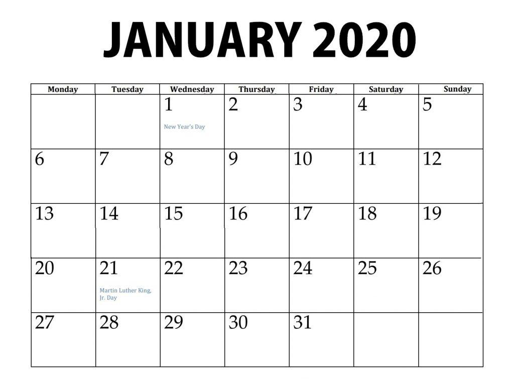 January 2020 Editable Calendar
