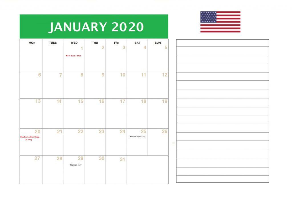 January 2020 Holidays United States