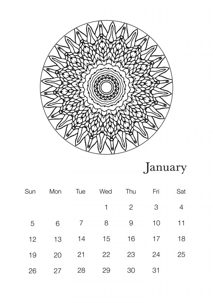 January 2020 Mandala Wall Calendar