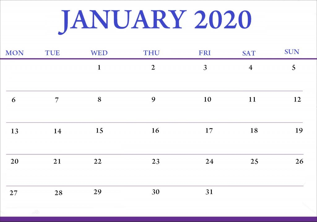 January 2020 Office Desk Calendar