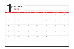 January 2020 Office Desk Calendar