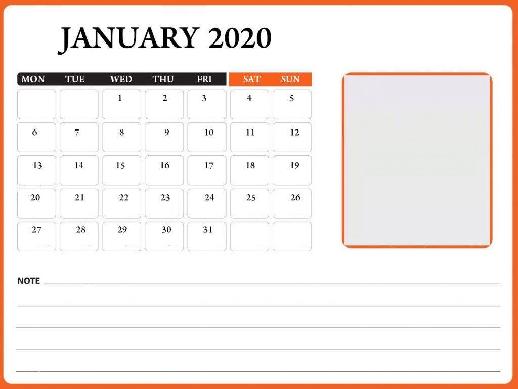 January 2020 Table Calendar