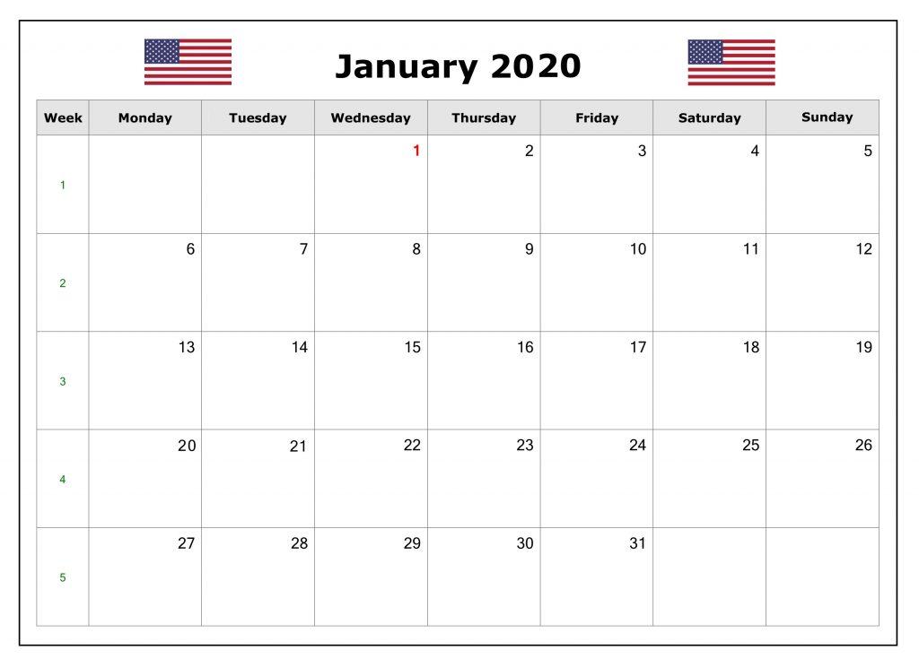 January 2020 USA Federal Holidays Calendar