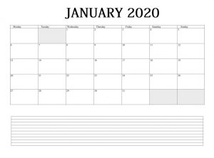 January 2020 Wall Calendar To Print