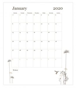 January 2020 Wall Calendar