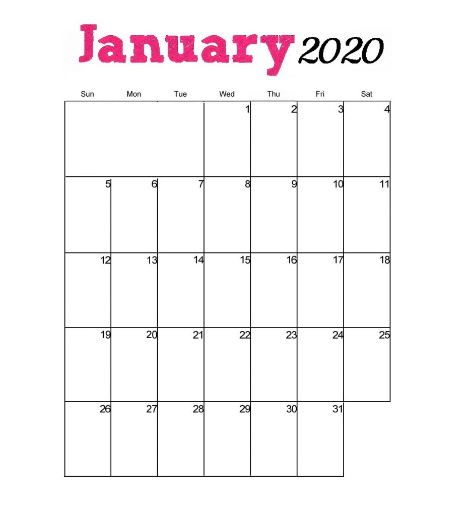 January 2020 Wall Monthly Planner