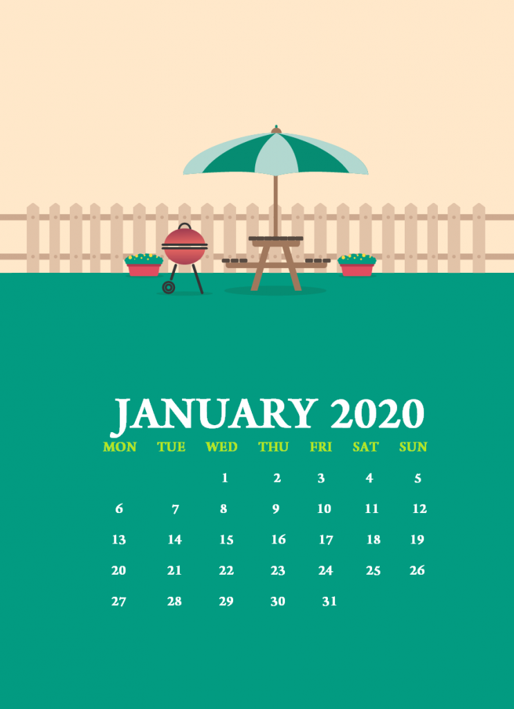 January 2020 iPhone Calendar