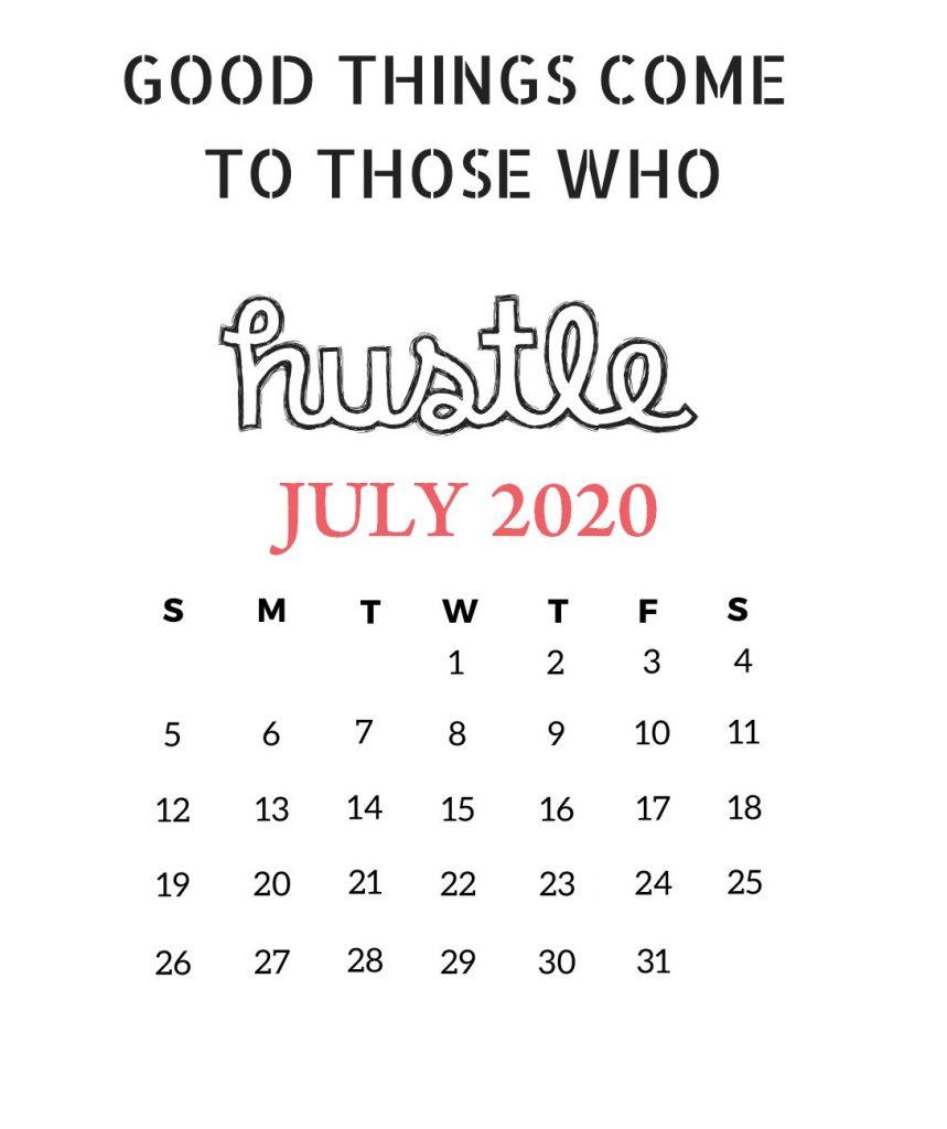 July 2020 Motivational Calendar