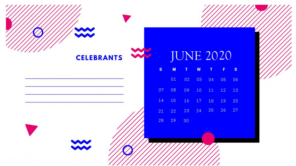 June 2020 Desk Calendar