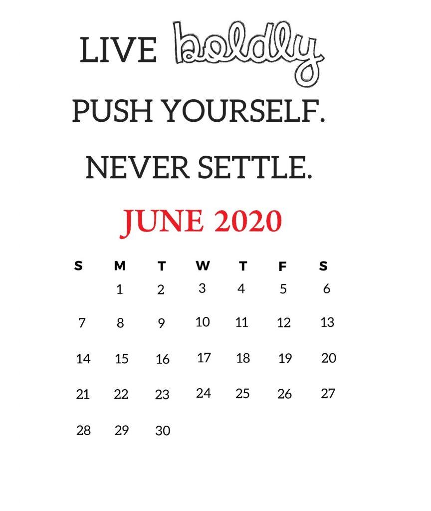 June 2020 Motivational Calendar