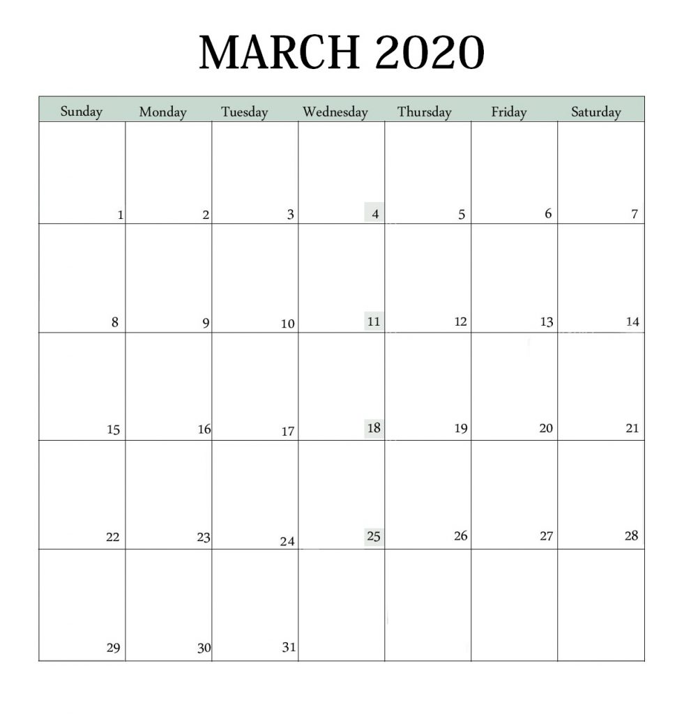 March 2020 Holidays Calendar