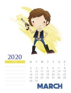 March 2020 Star Wars Calendar