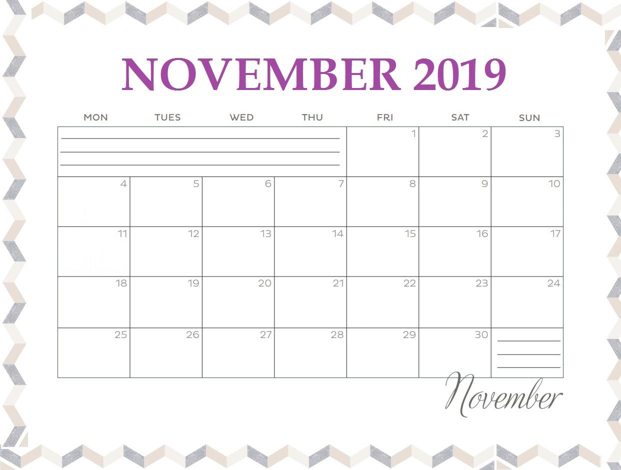 November 2019 Blank Calendar Template
