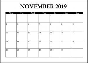 November 2019 Weekly Planner