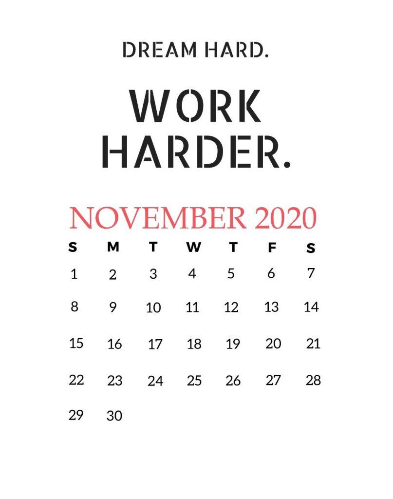 November 2020 Motivational Calendar