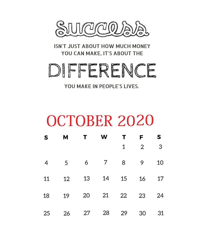 October 2020 Motivational Calendar