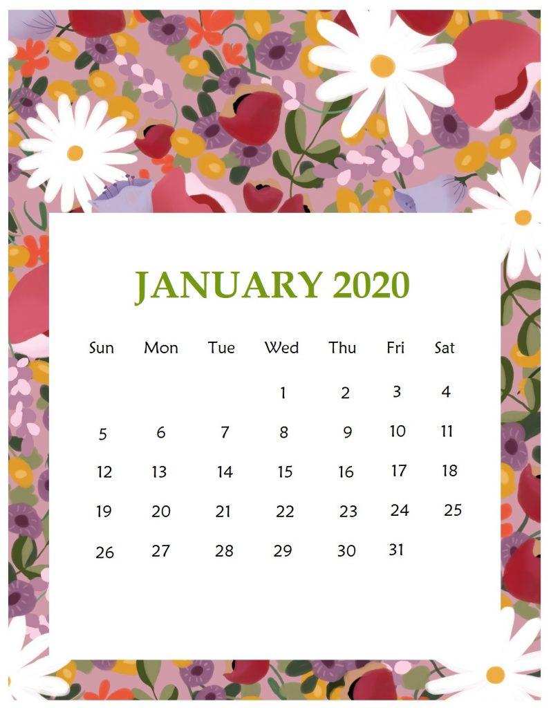 Print Beautiful January 2020 Calendar