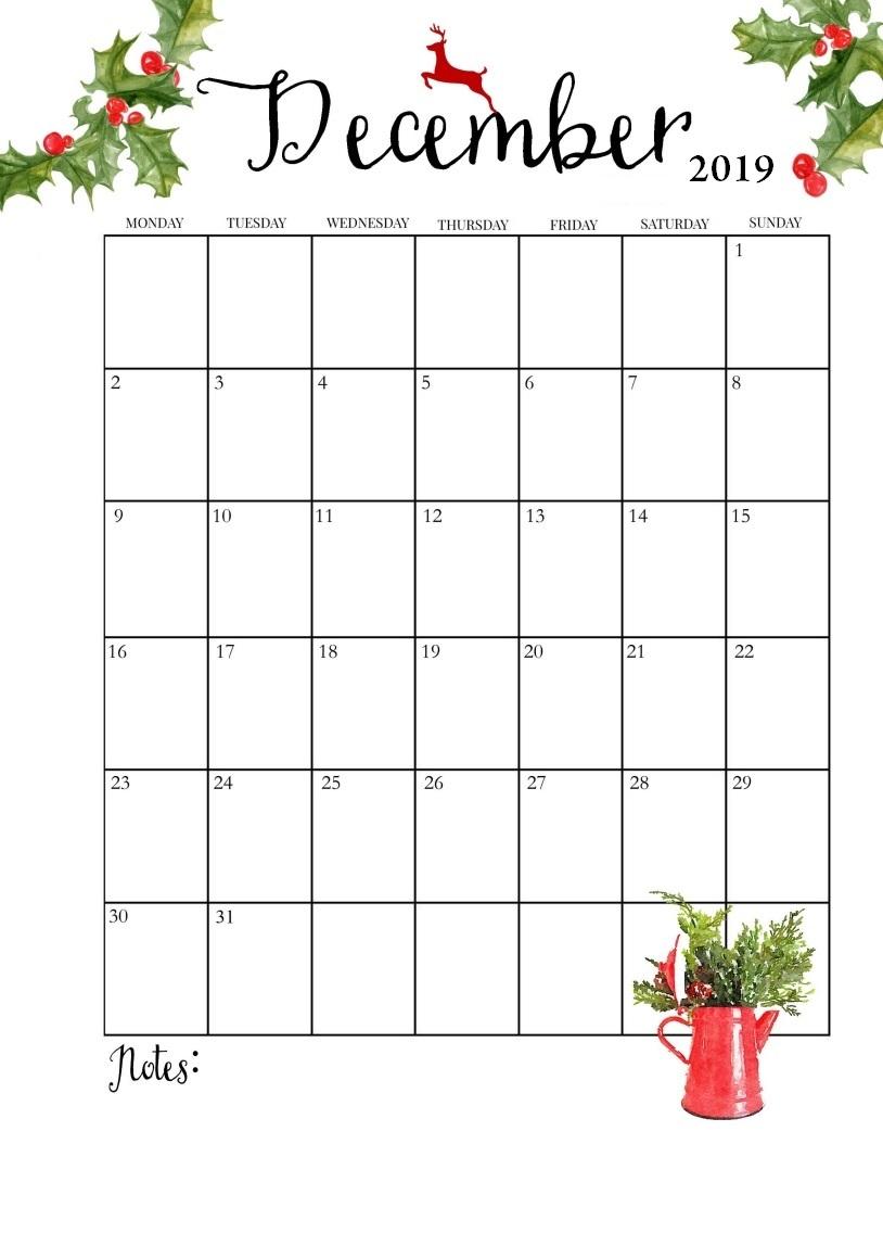 Print December 2019 Wall Calendar