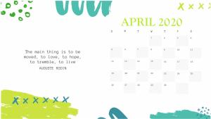 Printable April 2020 Desk Calendar