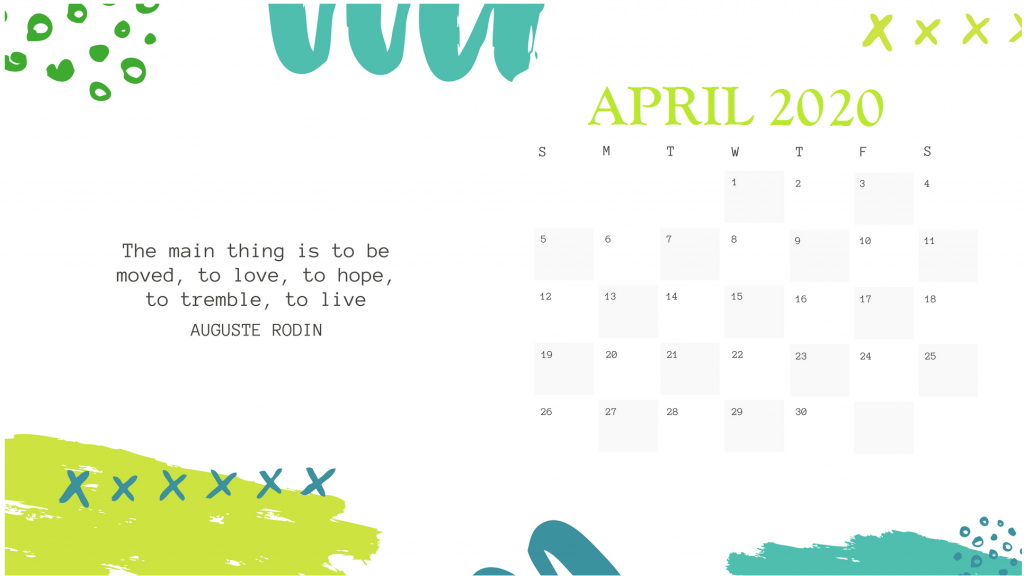 Printable April 2020 Desk Calendar