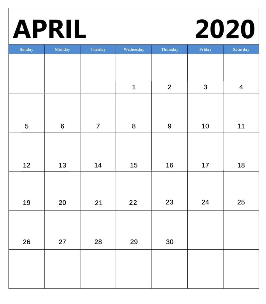 Printable April 2020 Wall Calendar