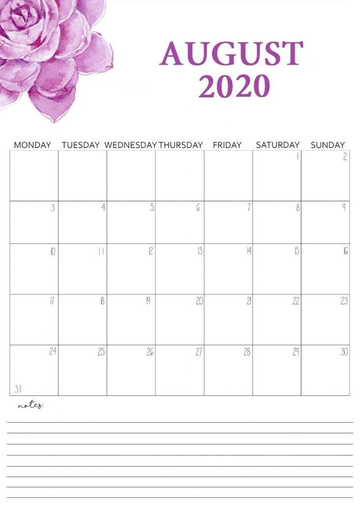 Printable August 2020 Wall Calendar