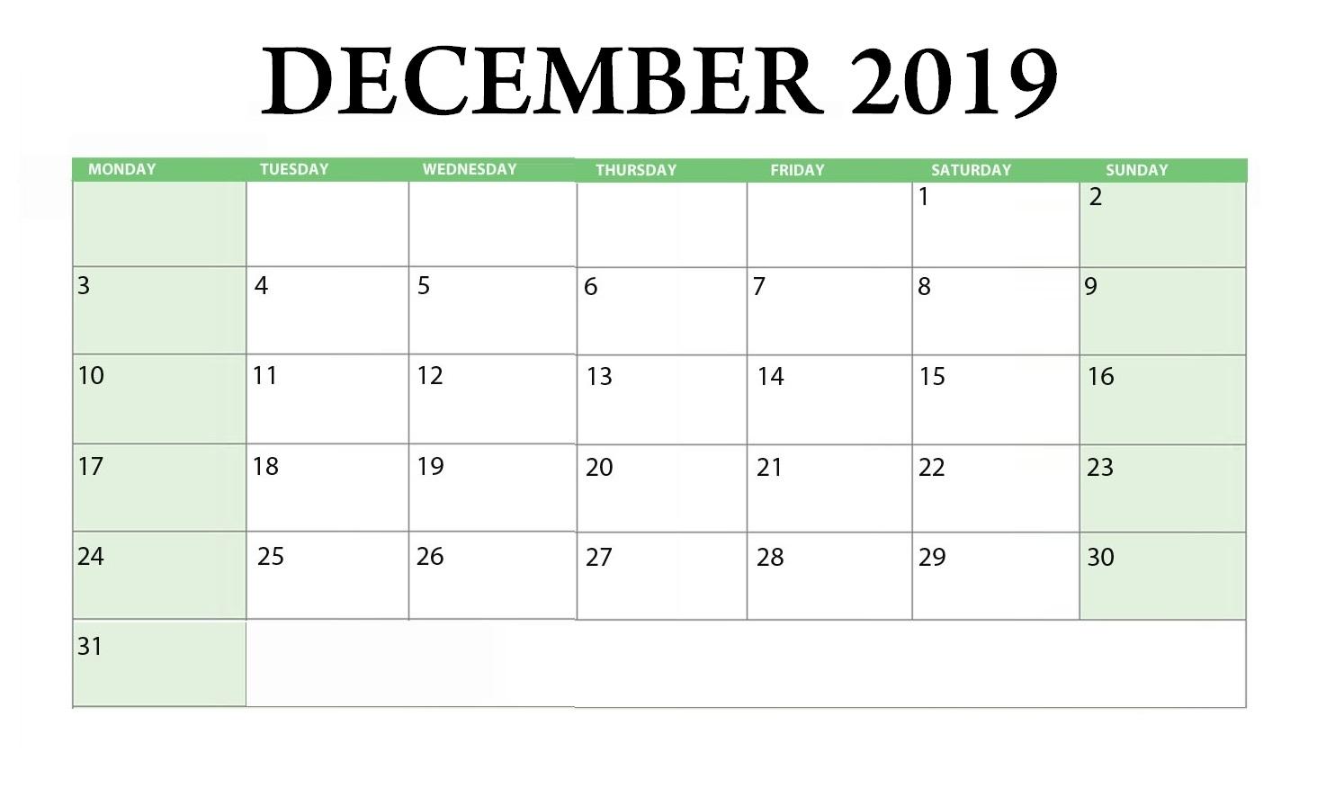 Printable December 2019 Blank Template