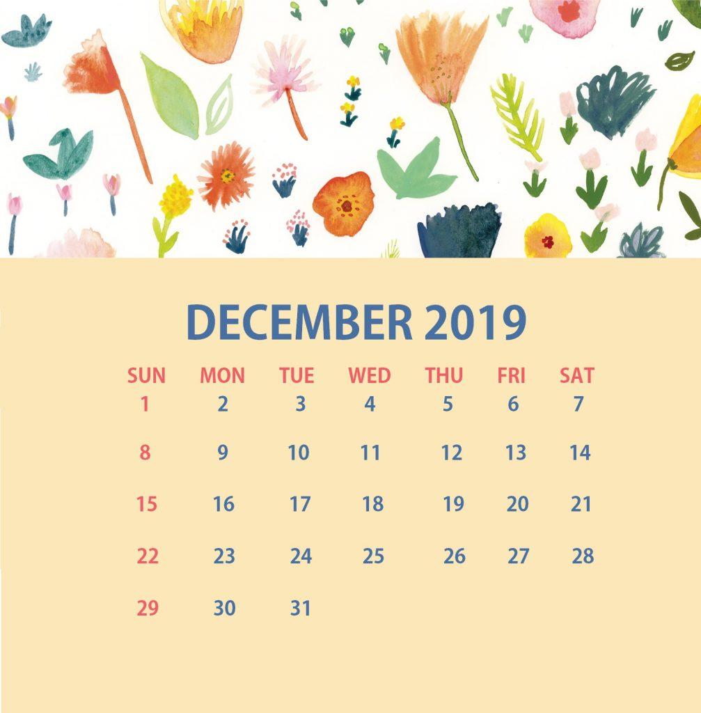 Printable December 2019 Floral Calendar