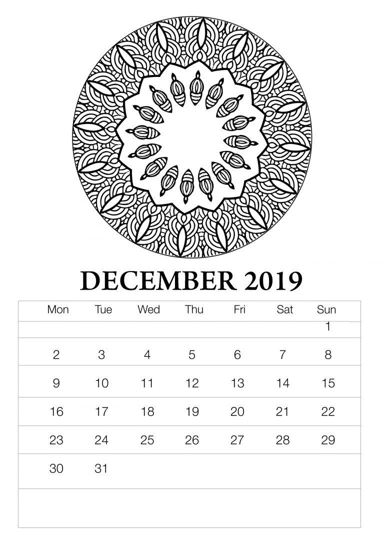 Printable December 2019 Wall Calendar