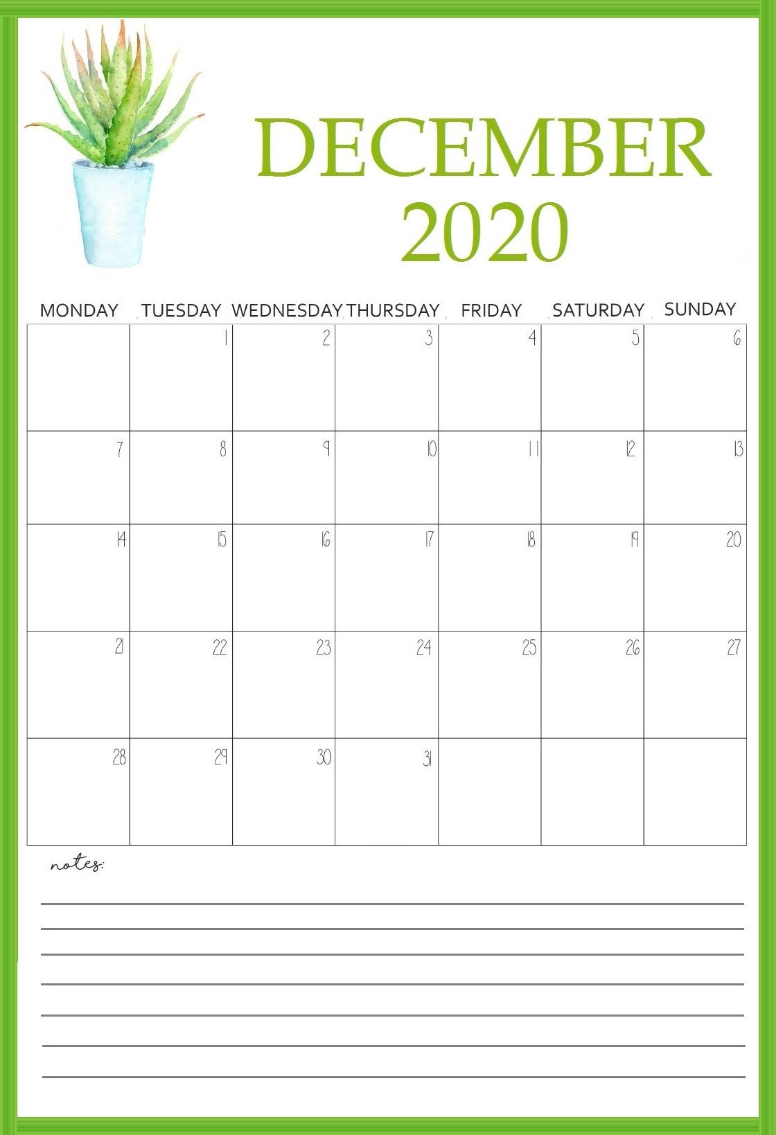 Printable December 2020 Wall Calendar