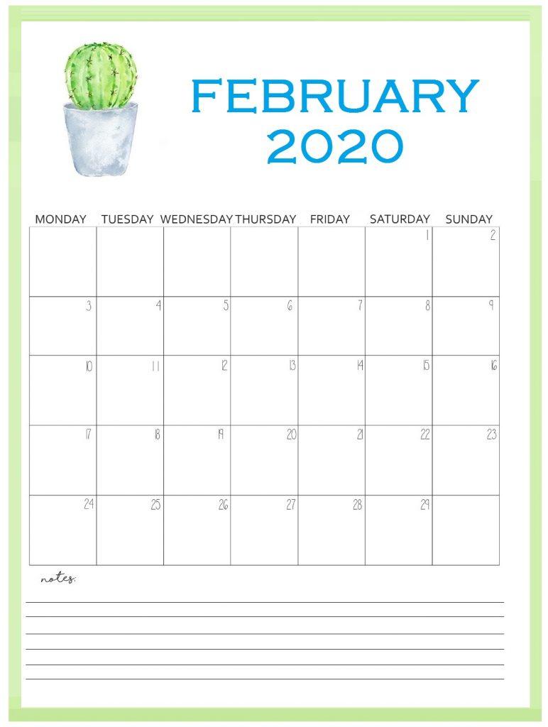 Printable February 2020 Wall Calendar