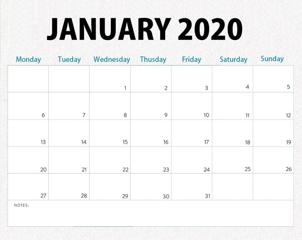 Printable January 2020 Blank Calendar