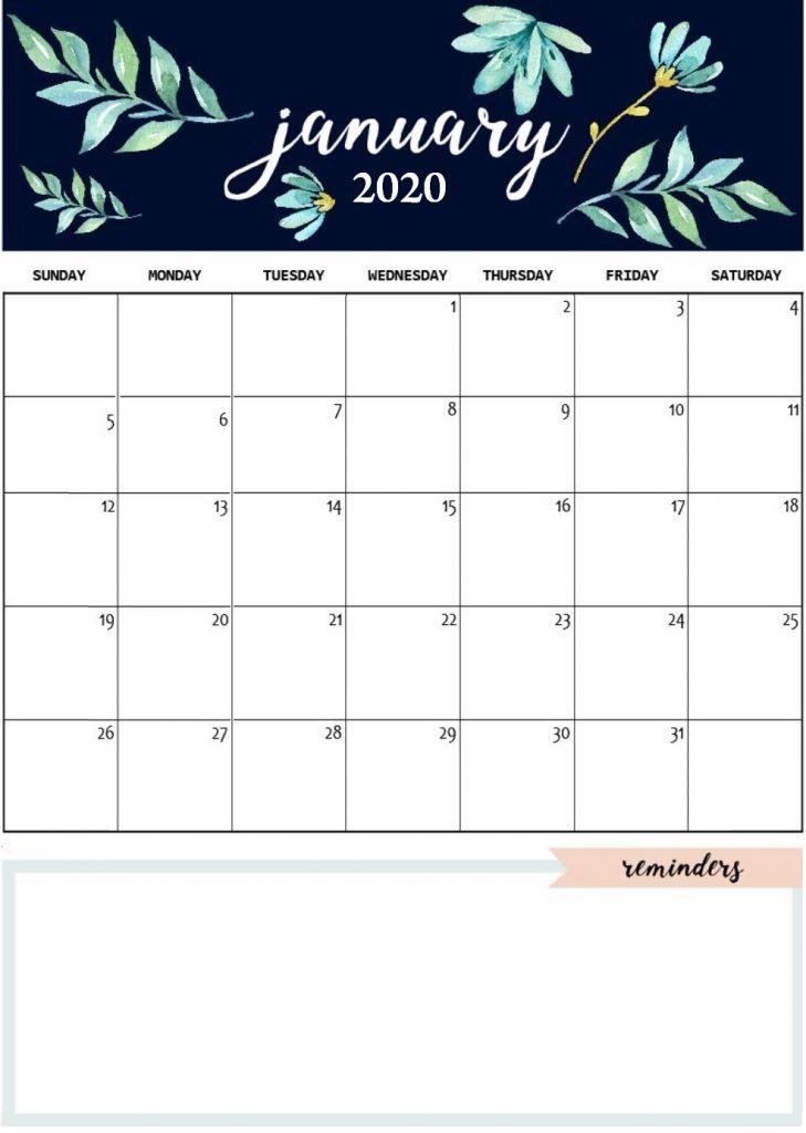 Printable January 2020 Desk Calendar
