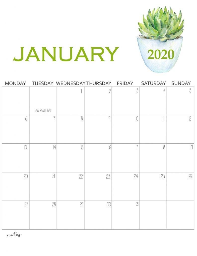 Printable January 2020 Wall Calendar