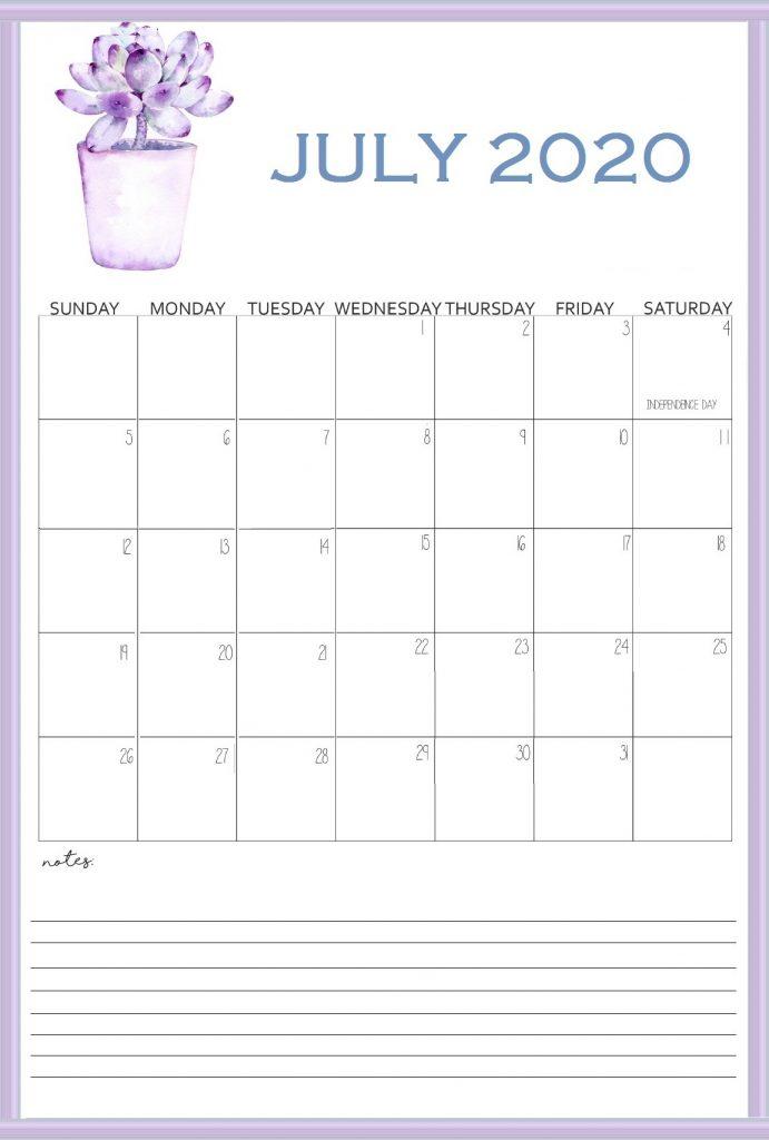Printable July 2020 Wall Calendar