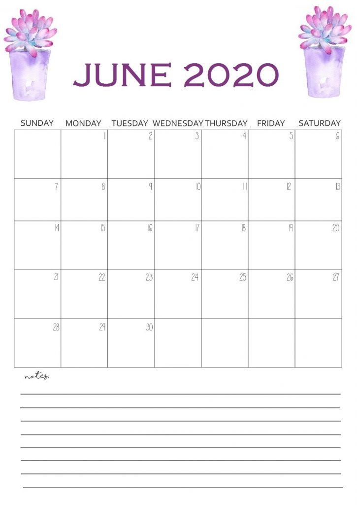 Printable June 2020 Wall Calendar