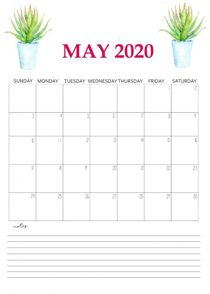 Printable May 2020 Wall Calendar