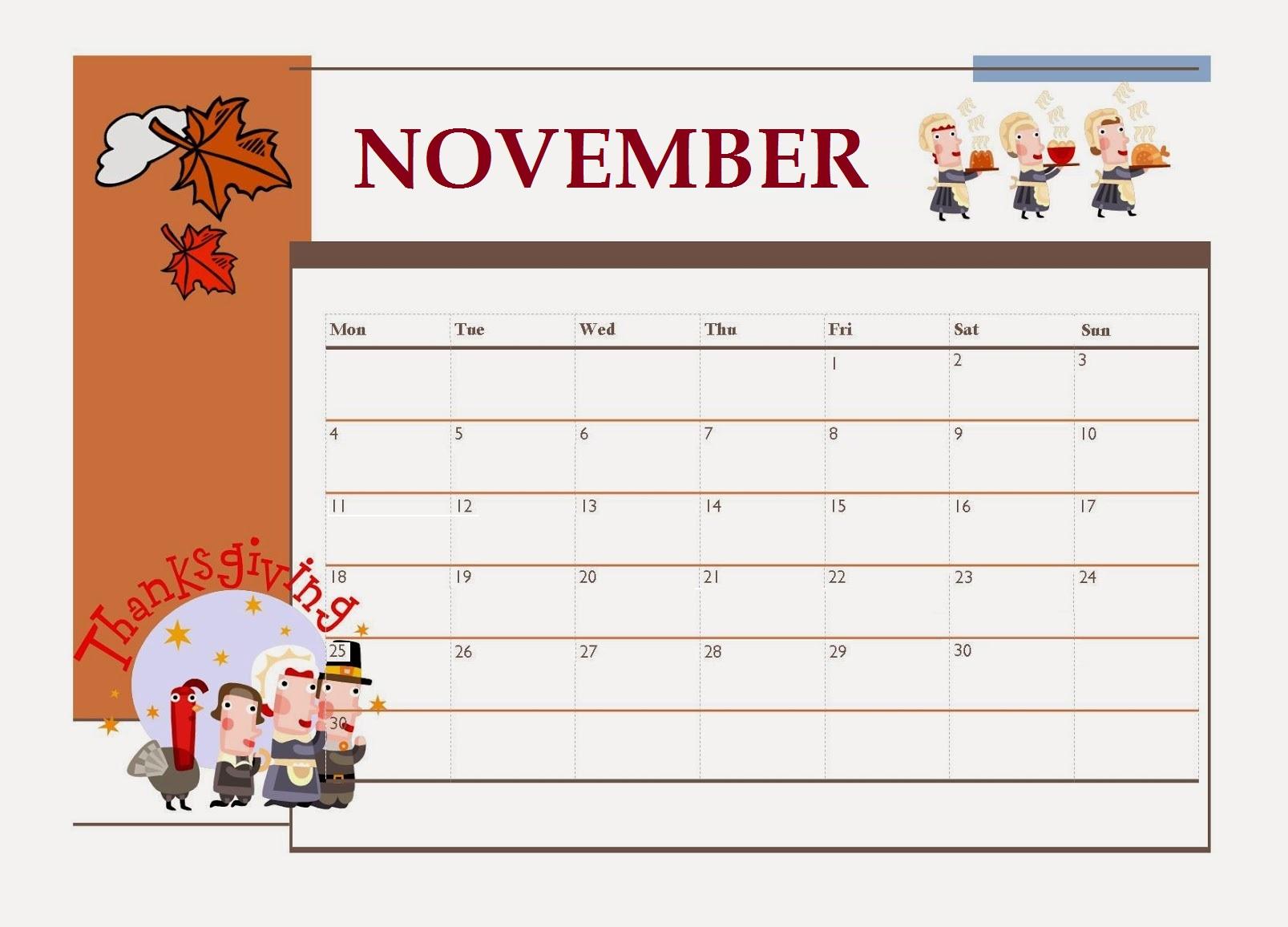 Printable November 2019 Blank Template