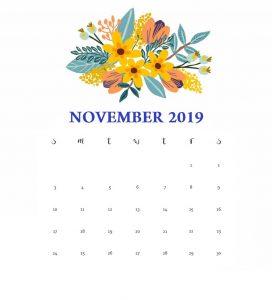 Printable November 2019 FloraPrintable November 2019 Floral Calendar Calendar