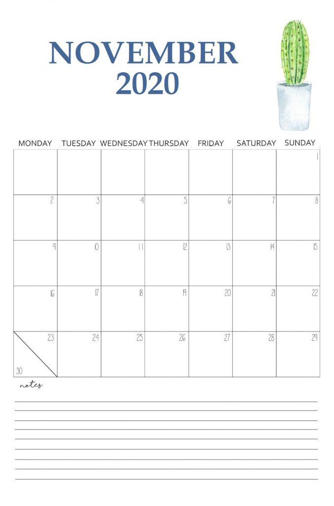 Printable November 2020 Wall Calendar