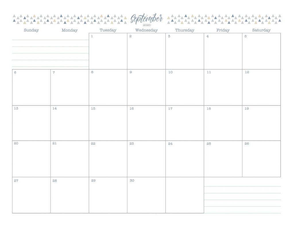 September 2020 Blank Calendar Template