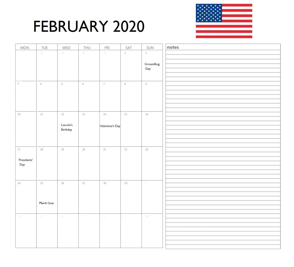 USA February 2020 Holidays Calendar