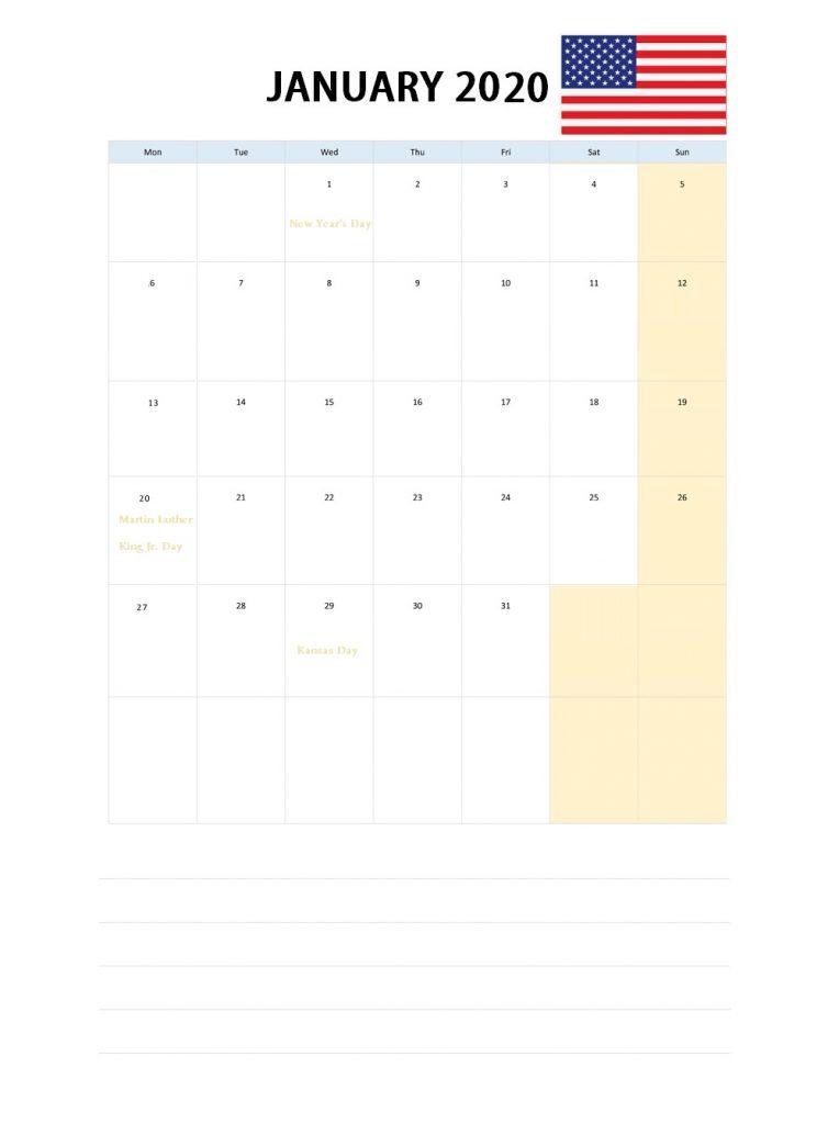 USA January 2020 Holidays Calendar