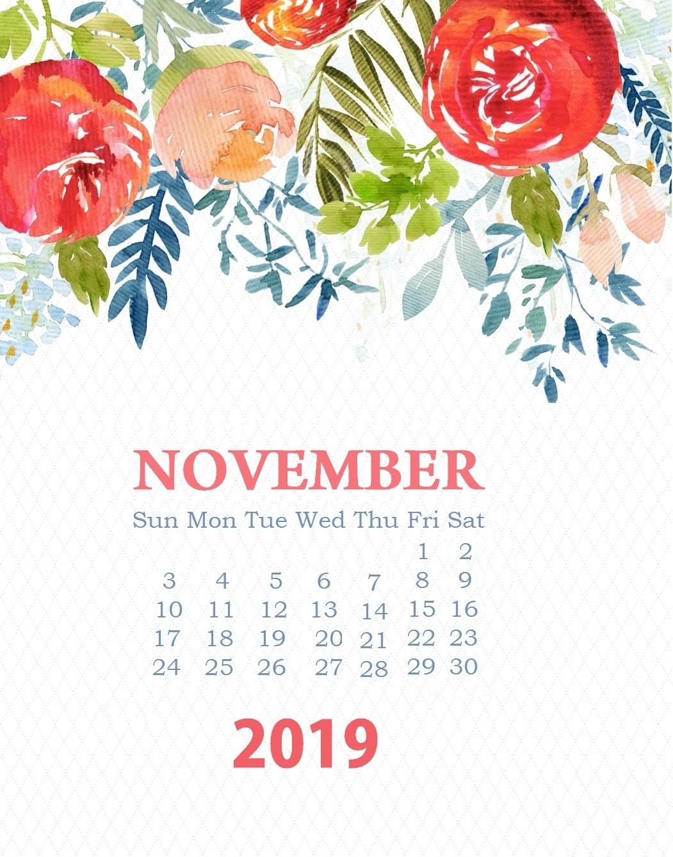 Unique November 2019 Floral Calendar