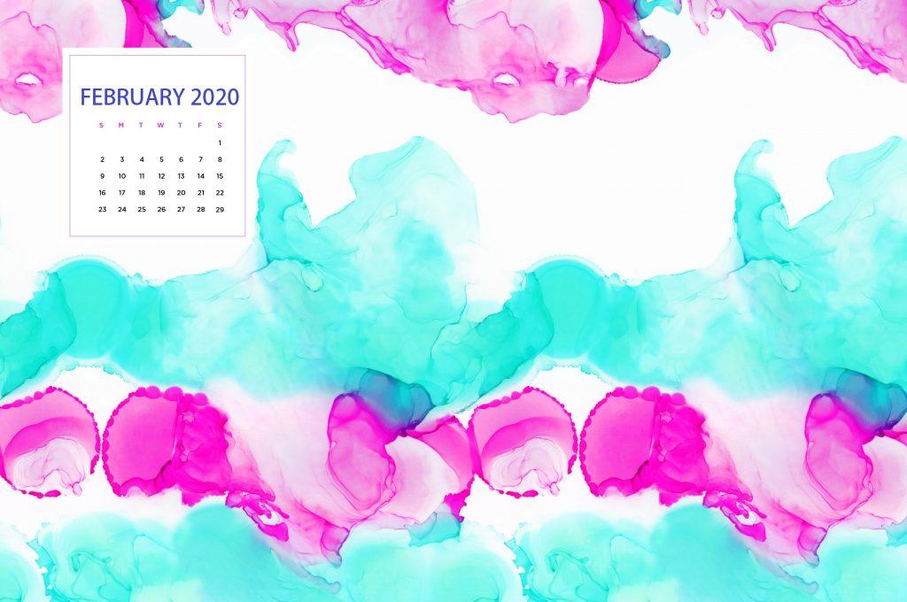 Watercolor February 2020 Desktop Wallpaper