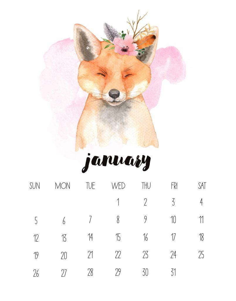 Watercolor January 2020 HD Calendar