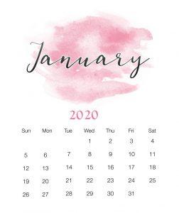 Watercolor January 2020 Wall Calendar