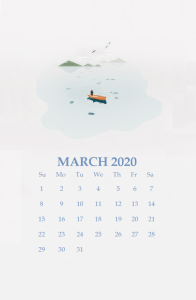 Watercolor March 2020 iPhone Wallpaper